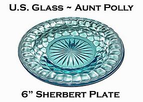 "U.S. Glass ~ Aunt Polly Blue 6"" Sherbert Plate"