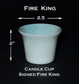 Fire King Signed White Casserole Candle Cup Warmers
