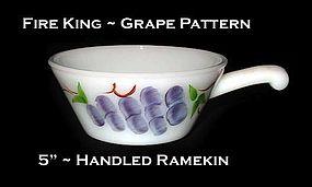"Fire King ""Grape"" 5 inch Handled Ramekin"