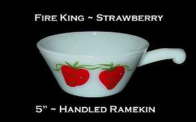 "Fire King ""Strawberry"" 5 inch Handled Ramekin"