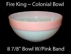 Fire King Colonial Pink Band Large Mixing Bowl