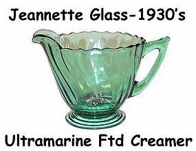 Jeannette Glass Ultramarine Swirl Footed Creamer-Nice!