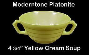Moderntone Platonite Pastel Yellow 2 Handled Cream Soup