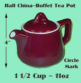 Hall China 1 1/2 Cup Buffet 11 oz Tea Pot - Small!