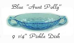U.S. Glass Blue Aunt Polly 9 inch Pickle/Relish Dish