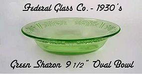 "Green Sharon 9 1/2"" Oval Vegetable Bowl-Federal"
