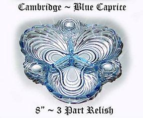 Cambridge Glass Blue Caprice 8 inch 3 Part Relish-Nice!