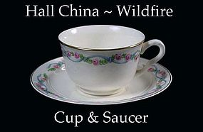 Hall China Wildfire Pattern ~ Cup and Saucer