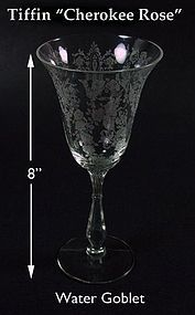 "Tiffin Glass-8"" Tall CHEROKEE ROSE Water Goblet"