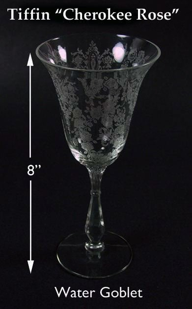 """Tiffin Glass-8"""" Tall CHEROKEE ROSE Water Goblet"""