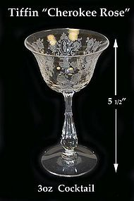 Tiffin Glass ~ CHEROKEE ROSE 3oz Cocktail Goblet