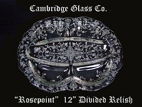 Cambridge Glass Co. 1930's Rosepoint 5 Part Relish