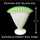 Fenton Art Glass ~ Emerald Crest Fan Vase-1949-1956