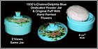 Delphite Blue or Chalaine Blue Round Powder Jar & Cover
