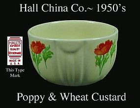 Hall China Wild Poppy Radiance Custard Cup Signed HSQK