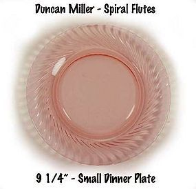 Duncan Rose Pink Spiral Flutes Small Dinner Plate-Used