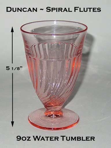 Duncan Miller Pink Spiral Flutes 9oz Ftd Water Glass