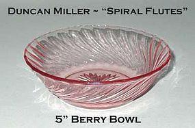 Duncan Miller Pink/Rose Spiral Flutes 5 Inch Berry Bowl