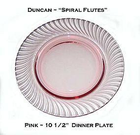 Duncan Miller Pink Spiral Flutes 10.5 inch Dinner Plate