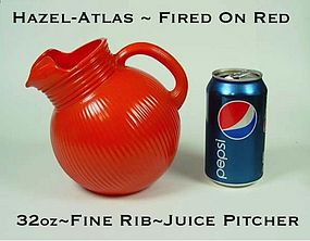 Hazel Atlas Fired On Red 32 oz Fine Rib Juice Pitcher