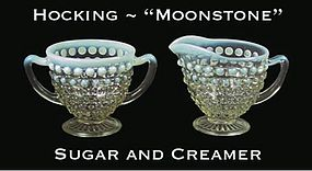 Hocking ~ Opalescent Moonstone Cream & Sugar