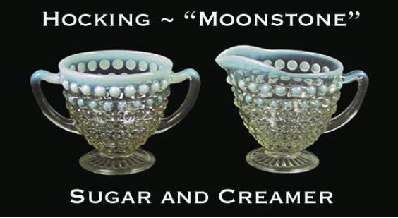 Hocking ~ Opalescent Moonstone Cream & Sugar