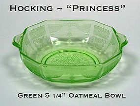 Hocking ~ Green Princess Tab Handled Cereal Bowl