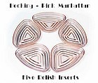 Hocking Manhattan Pink 5 Relish Inserts ~ 1930s