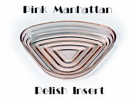 Hocking Manhattan Pink 1 Relish Insert ~ 1930s