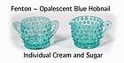 Fenton Blue Opalescent Hobnail Individual Cream & Sugar