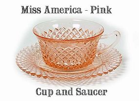 Hocking Miss America Pink Cup and Saucer-1930s
