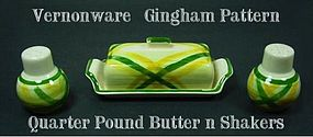 Vernon Kilns Gingham Butter Dish-Salt & Pepper Shakers
