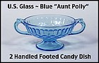 U.S. Glass Aunt Polly Blue 2 Handled Footed Candy Dish