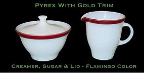 Pyrex Gold Trim W/Flamingo Band~Creamer, Sugar, Lid