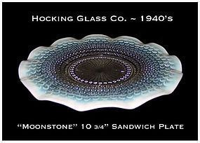 Hocking ~ Opalescent Moonstone 10 3/4 inch Plate