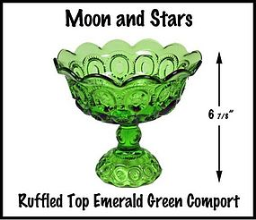 Moon and Stars Emerald Green Ruffled Top Compote