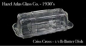 Hazel Atlas Criss Cross 1/4 lb Butter Dish & Cover