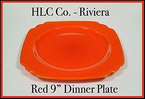 "Vintage HLC Genuine Riviera Red 9"" Dinner Plate"
