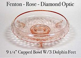 Fenton Pink Diamond Optic 9� Cupped Bowl W/Dolphin Feet