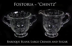 "Fostoria Glass ""Chintz"" Large Creamer and Sugar Bowl"