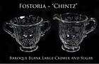 "Fostoria Glass ""Chintz"" Large Creamer and Sugar Bowl"