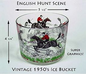 Vintage 1950s English Hunt Scene Ice Bucket-Hazel Atlas