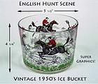 Vintage 1950s English Hunt Scene Ice Bucket-Hazel Atlas