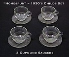 Jeannette~1930's Homespun Childs 4 Crystal Cups & Sauce