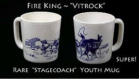Fire King Vitrock Rare Blue Stagecoach Youth Mug-Nice!