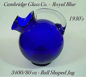 Cambridge 1930s Royal Blue 3400/80 oz Tilt Ball Jug