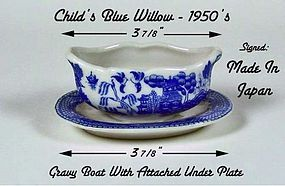 Blue Willow 1950s Childs Gravy Boat W/Attached U/Plate