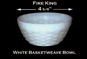 Fire King White Basketweave 5 inch Cereal Bowl - Nice!