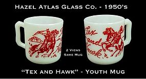 "Hazel Atlas White & Red ""Tex and Hawk"" Youth Mug"