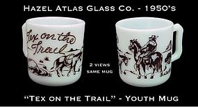 "Hazel Atlas White & Brown ""Tex on Trail"" Youth Mug"
